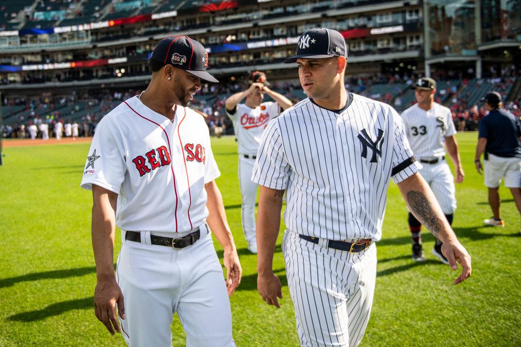 Xander Bogaerts and Gary Sanchez at the MLB All-Star Game