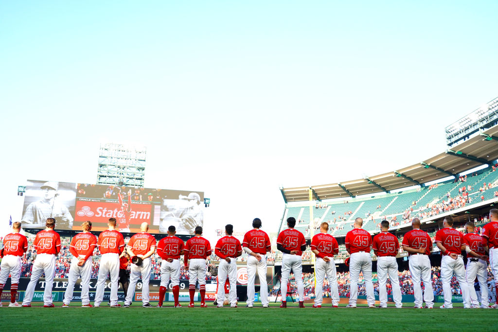 The Angels watch the Tyler Skaggs tribute video