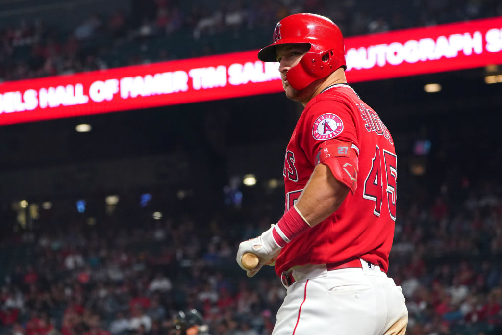 Mike Trout in his #45 Skaggs jersey