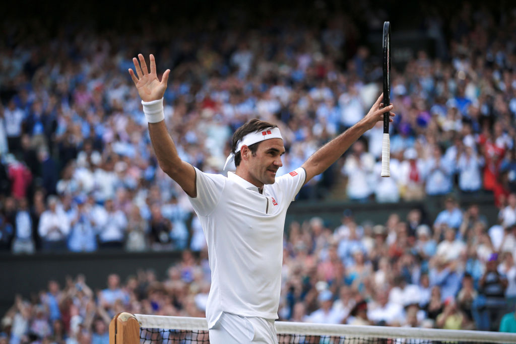 Roger Federer celebrates his win over Rafael Nadal