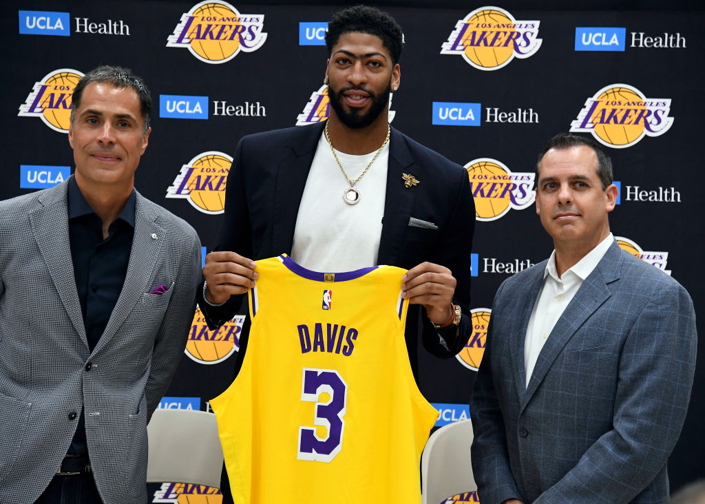 Anthony Davis is introduced as a Los Angeles Laker