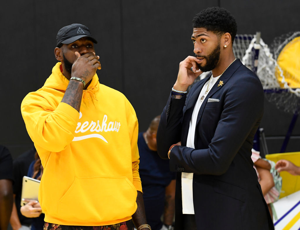LeBron James hanging out with Anthony Davis