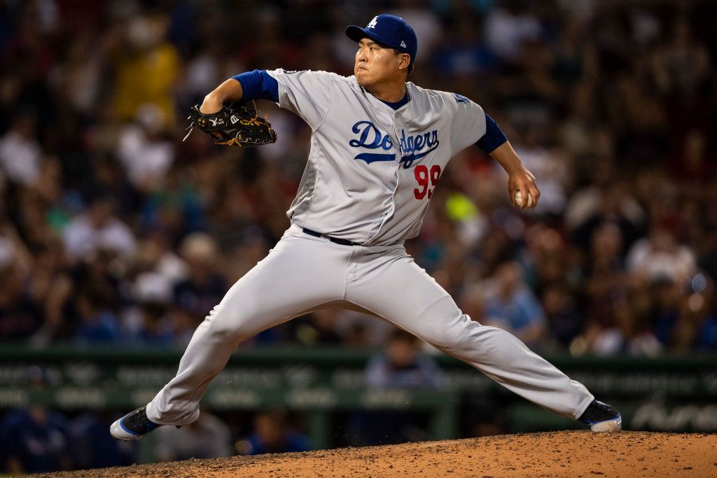 Hyun-Jin Ryu pitching at Fenway Park