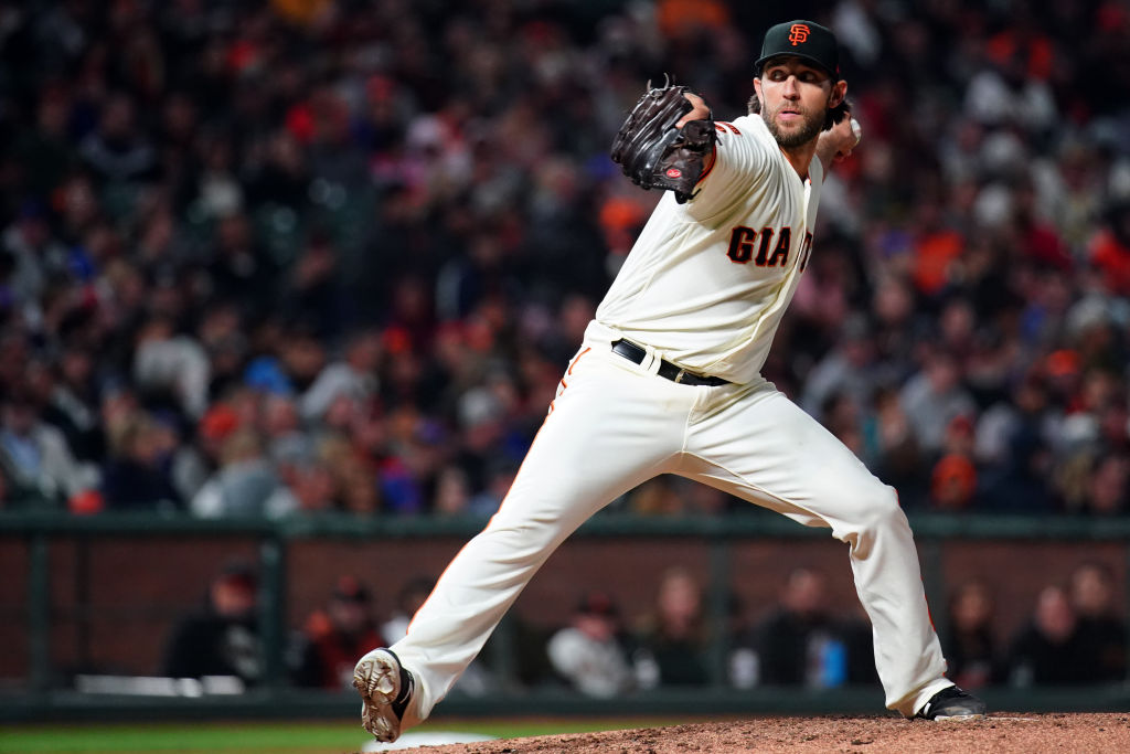 Madison Bumgarner pitches against the New York Mets
