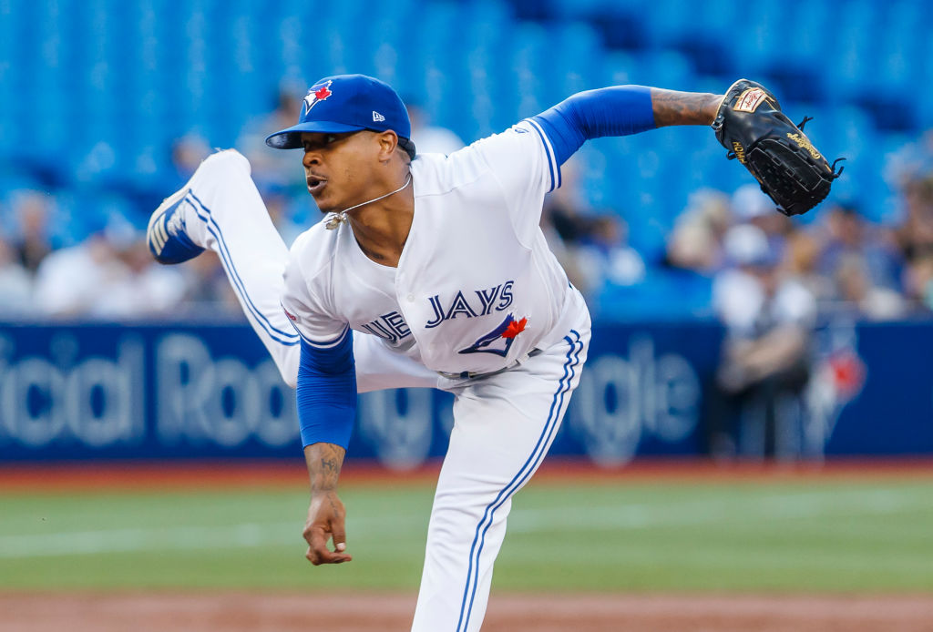 Marcus Stroman #6 of the Toronto Blue Jays pitches against the Cleveland Indians