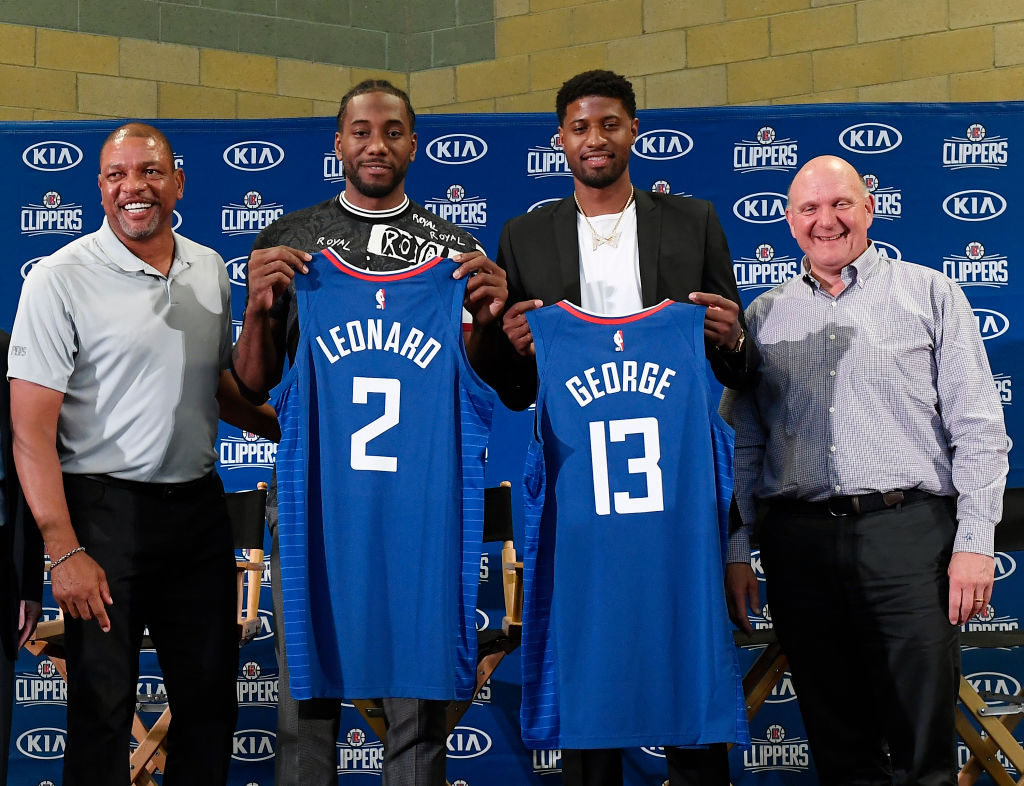 Doc Rivers, Paul George, Kawhi Leonard and owner Steve Ballmer