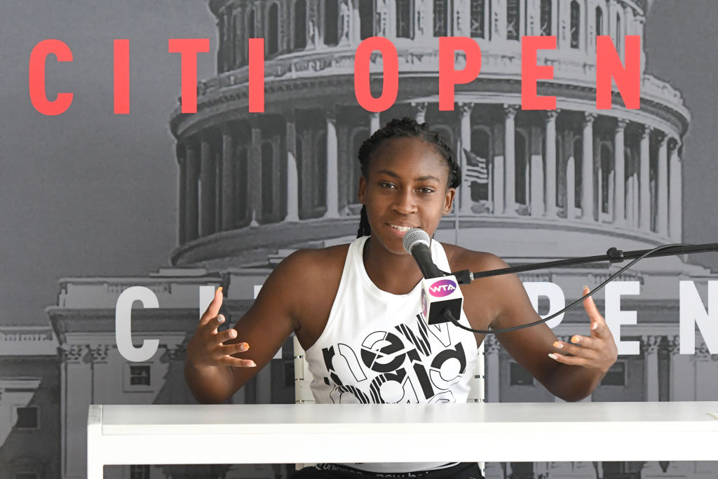 Coco Gauff address the media during the Citi Open