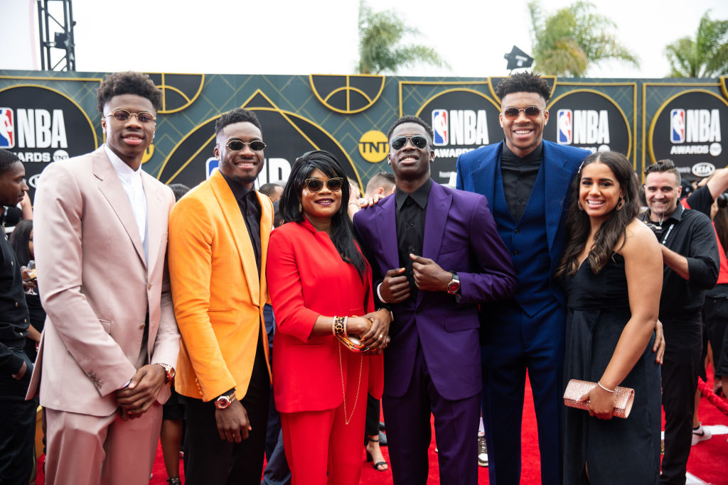 Antetokounmpo family at the NBA Awards
