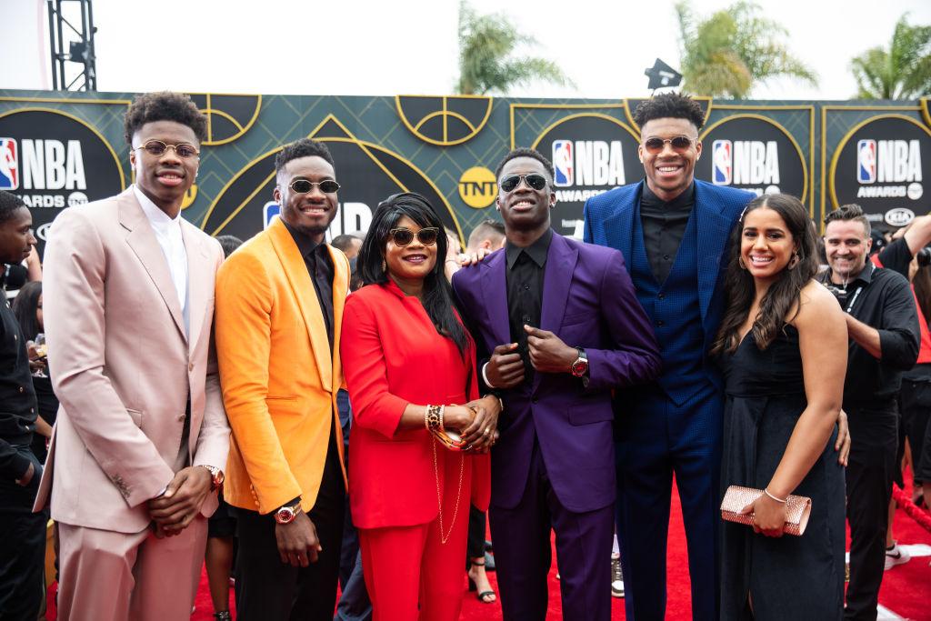 Antetokounmpo family at the NBA Awards
