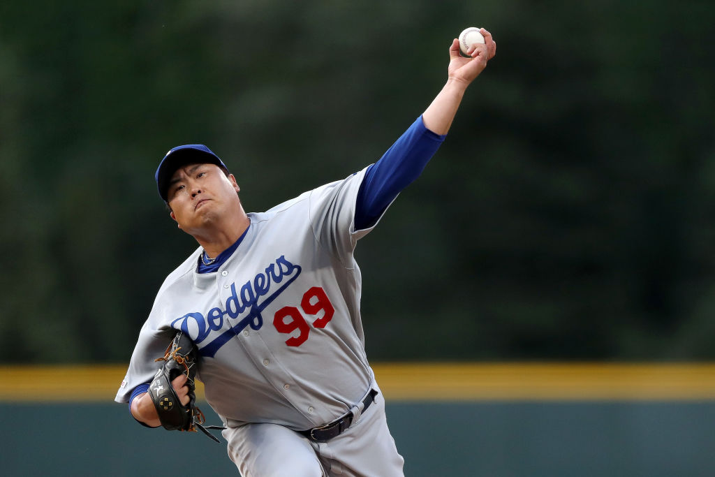 Hyun-jin Ryu delivers the pitch for the Los Angeles Dodgers