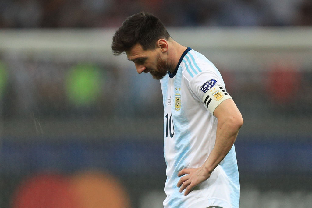 Lionel Messi dejected after another Copa America Loss