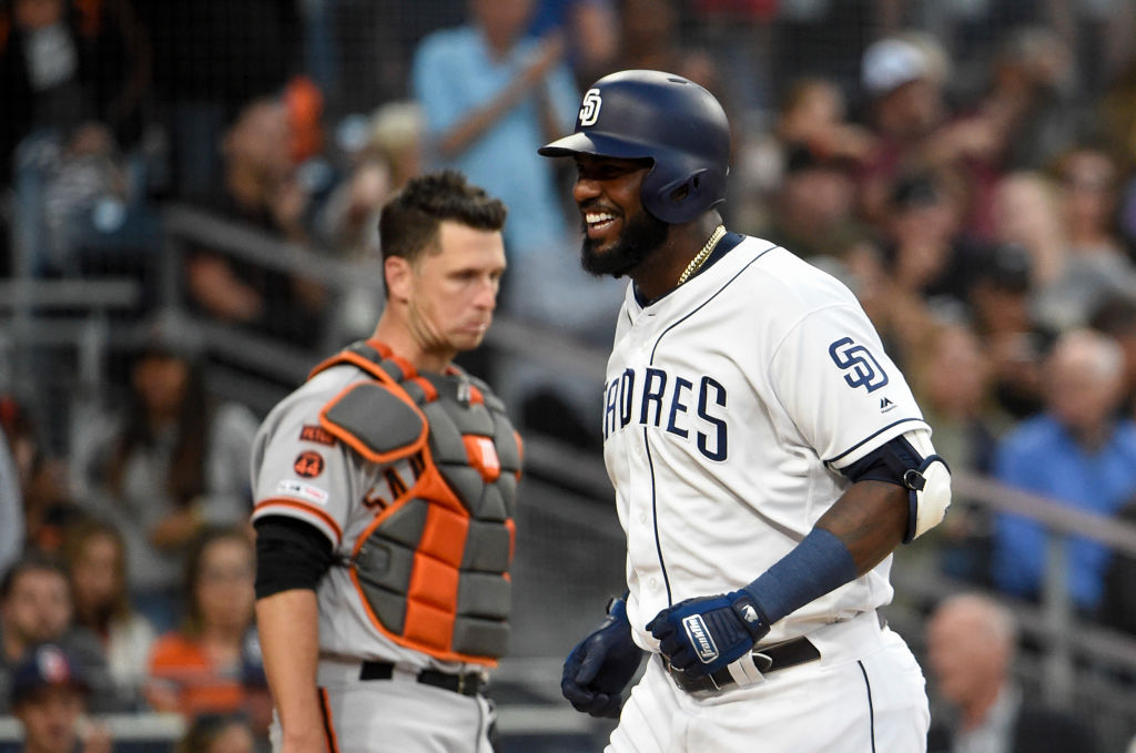 Franmil Reyes rounding the bases after hitting a home run