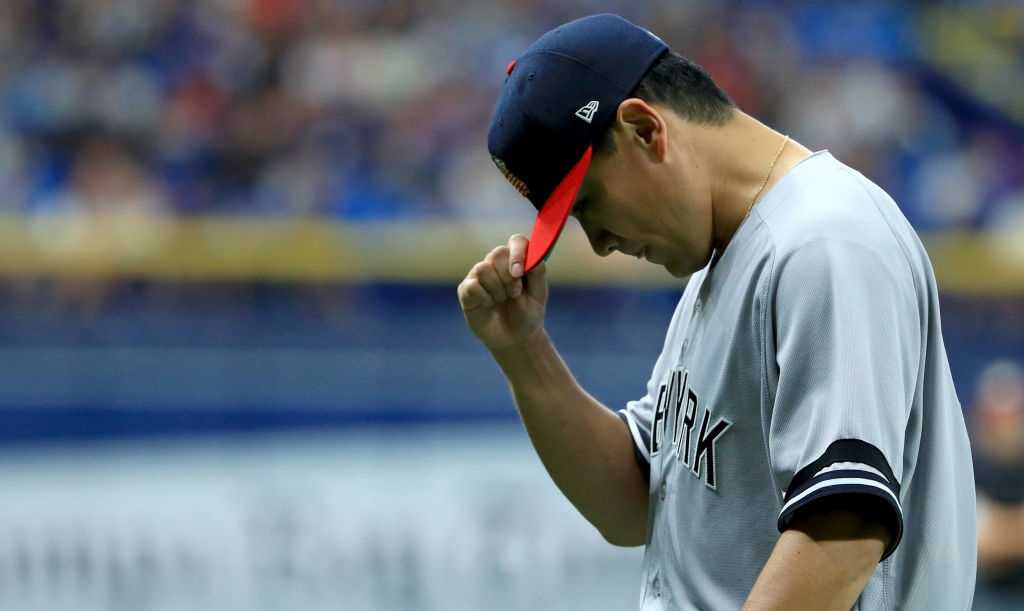Masahiro Tanaka leaves the game against Tampa Bay