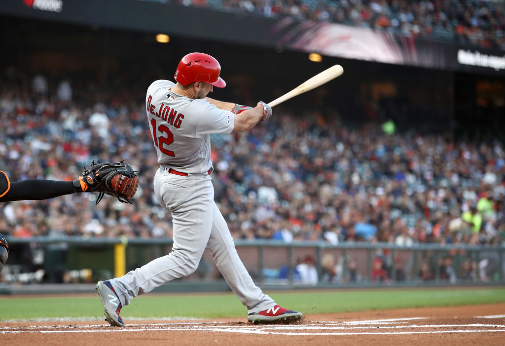 Paul DeJong singles against the San Francisco Giants