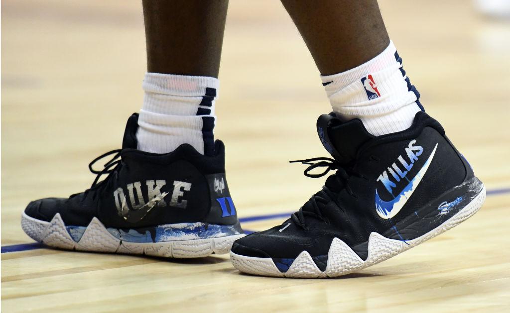 Zion Williamson #1 wears Nike sneakers