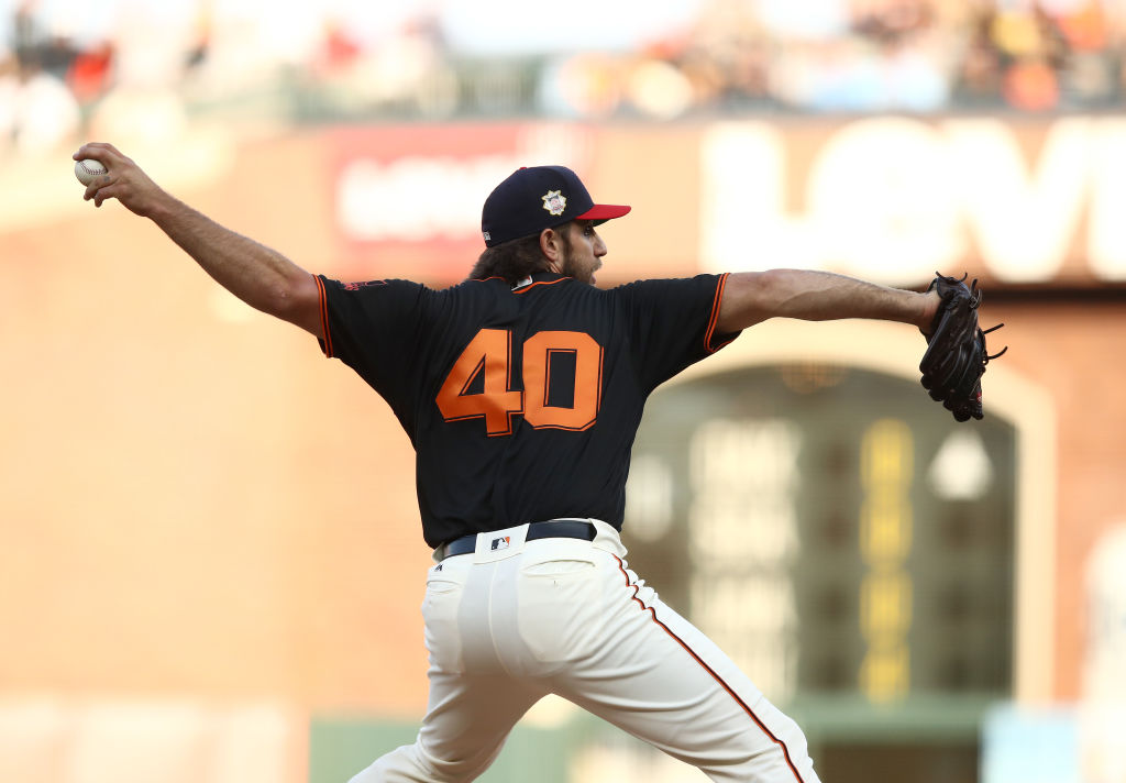 Madison Bumgarner pitches against the St. Louis Cardinals
