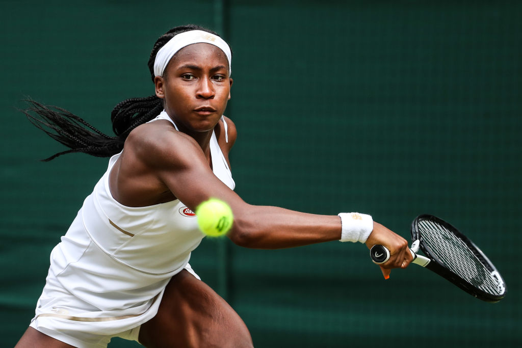 Cori Gauff of the United States plays a backhand