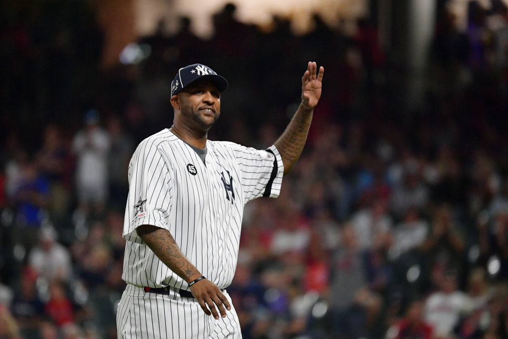 CC Sabathia waves to fans during the MLB All-Star Game