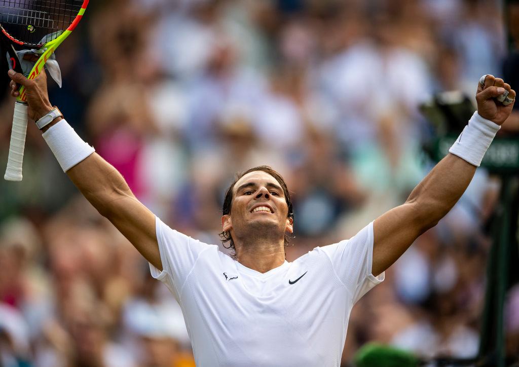Rafael Nadal celebrates a win at Wimbledon