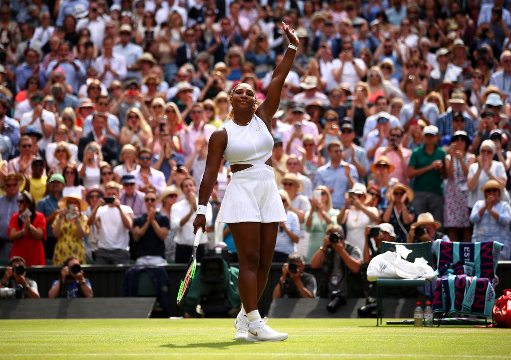 Serena Williams celebrates her victory over Barbora Strycova