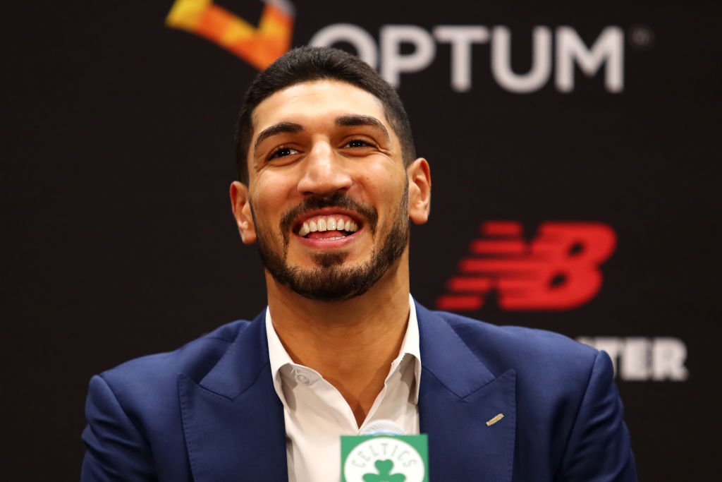 Enes Kanter laughs during Boston Celtics press conference