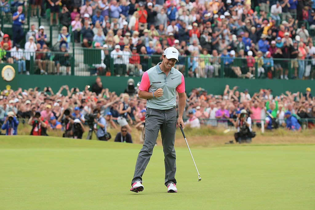Rory McIlroy celebrates his Open Championship victory