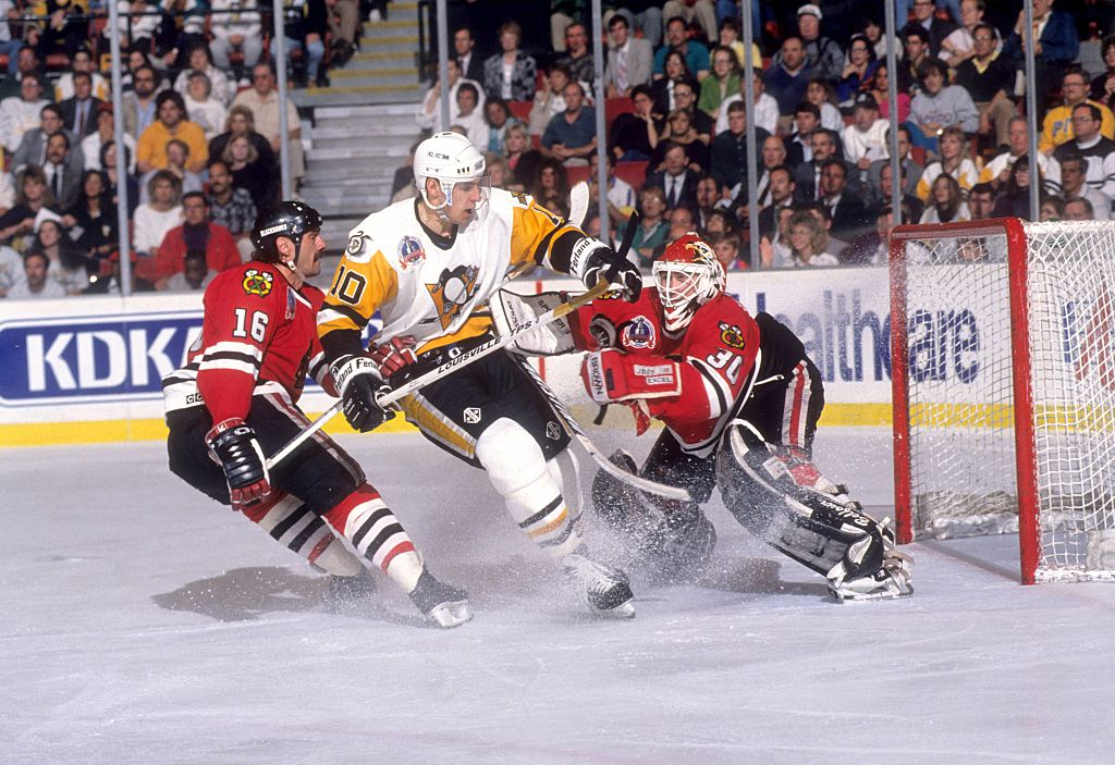 Ron Francis crashes the net in the Stanley Cup Finals
