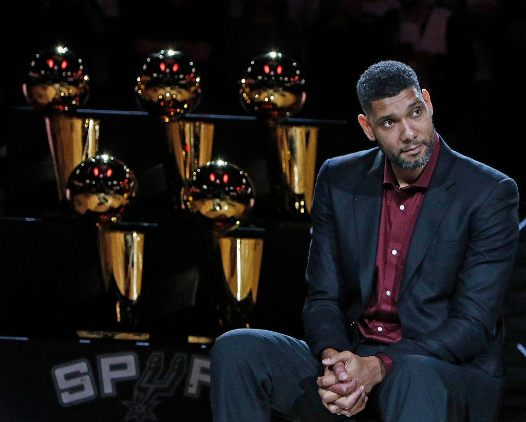 Tim Duncan at his jersey retirement ceremony