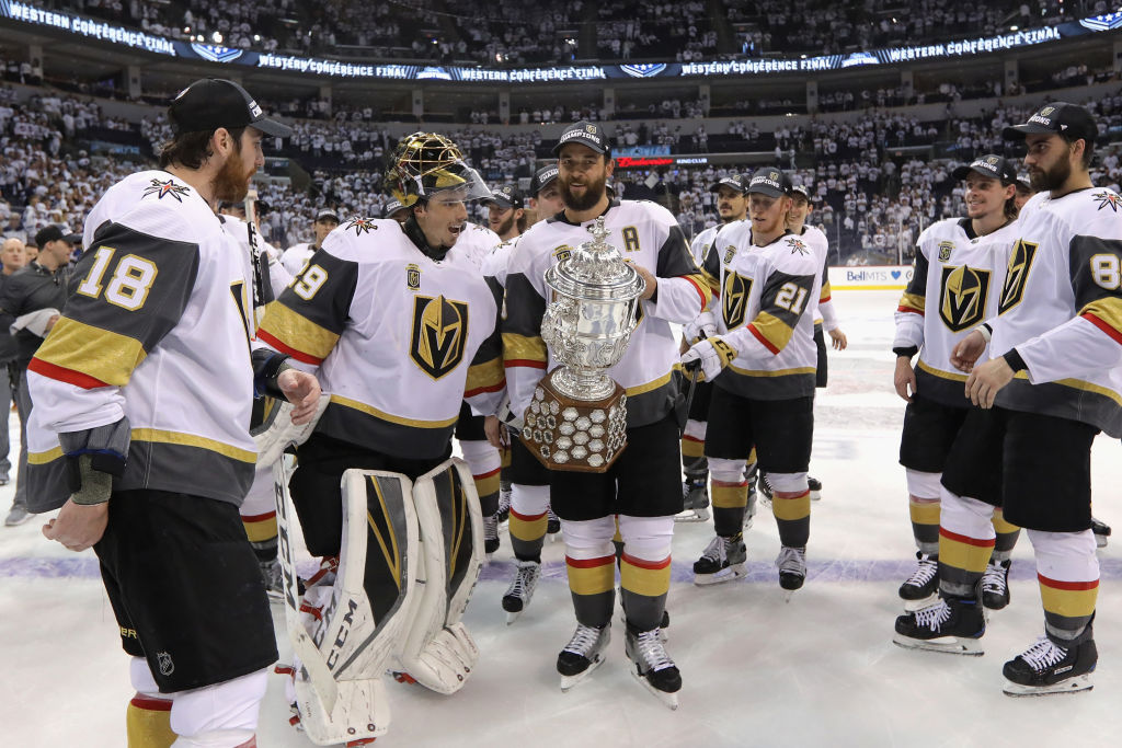 The Vegas Golden Knights celebrate winning the Western Conference