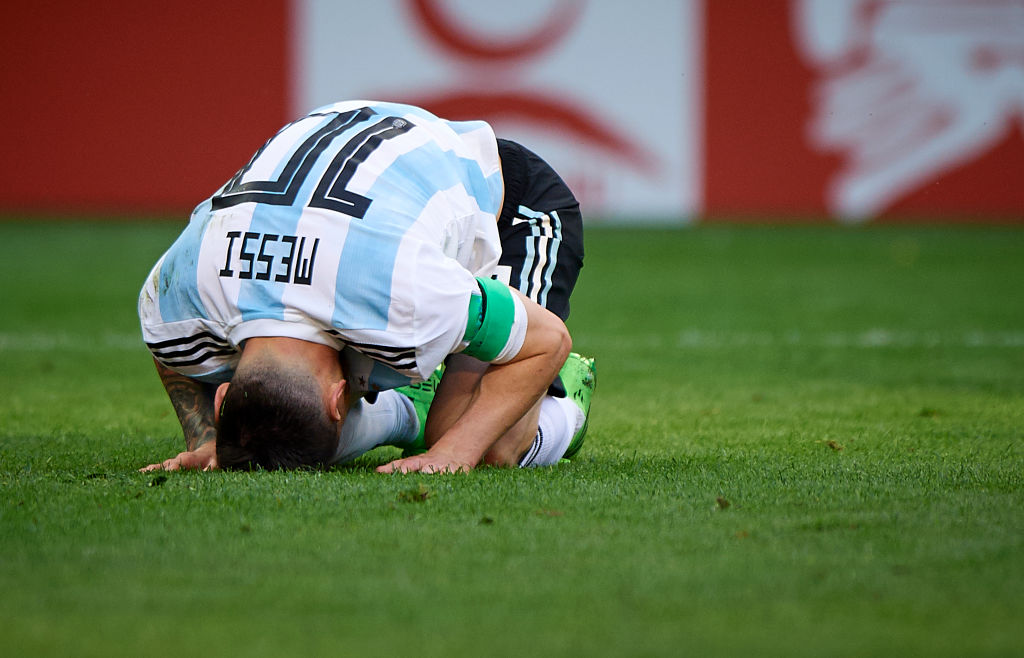 Lionel Messi dejected at the 2018 World Cup