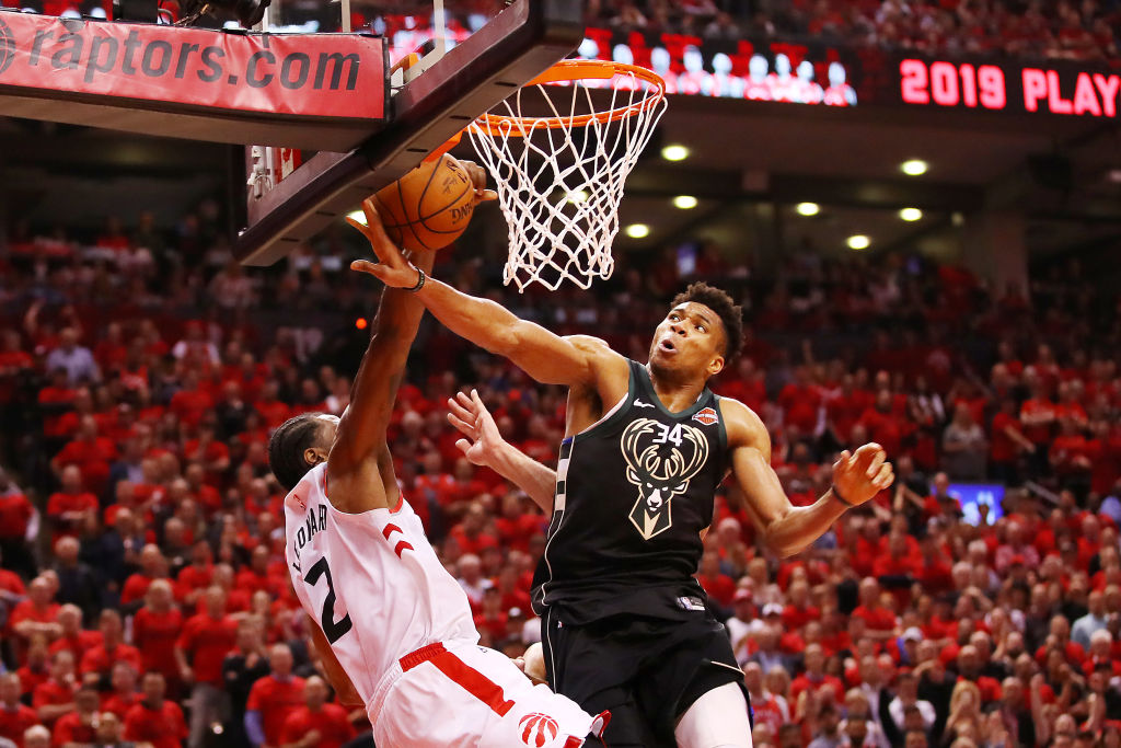 Giannis Antetokounmpo is better suited for the basketball court than the baseball field.