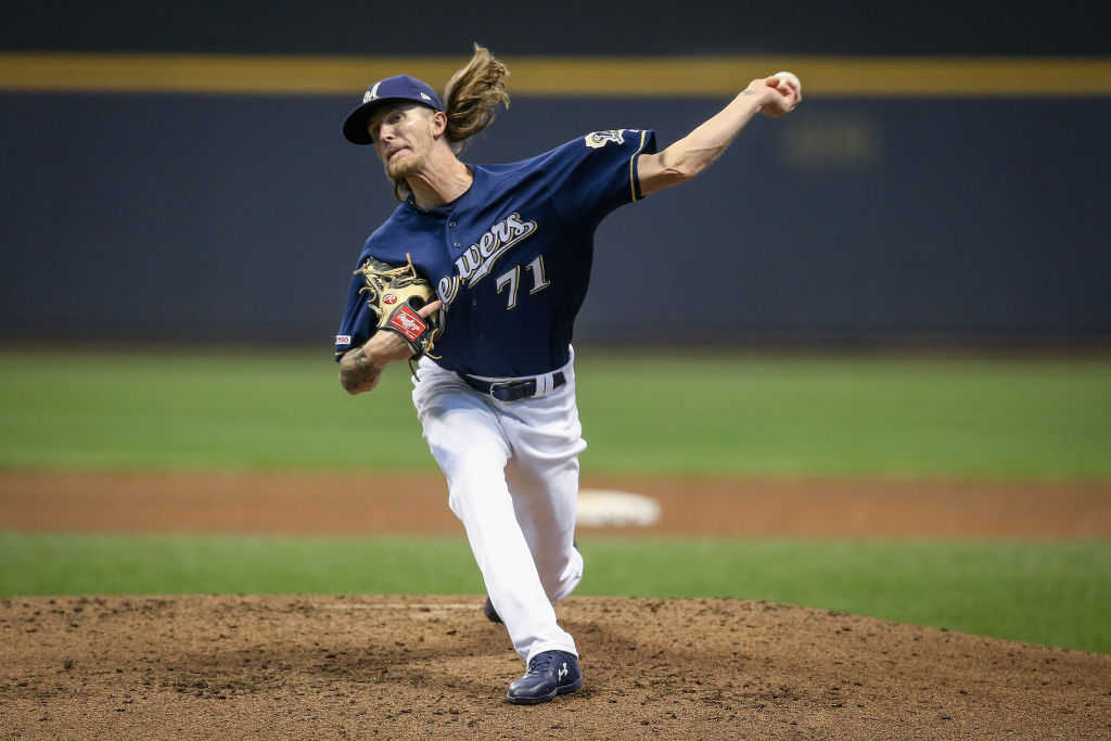 Brewers reliever Josh Hader relies on his fastball and hitters know it, but they still can't put the ball on the ball.
