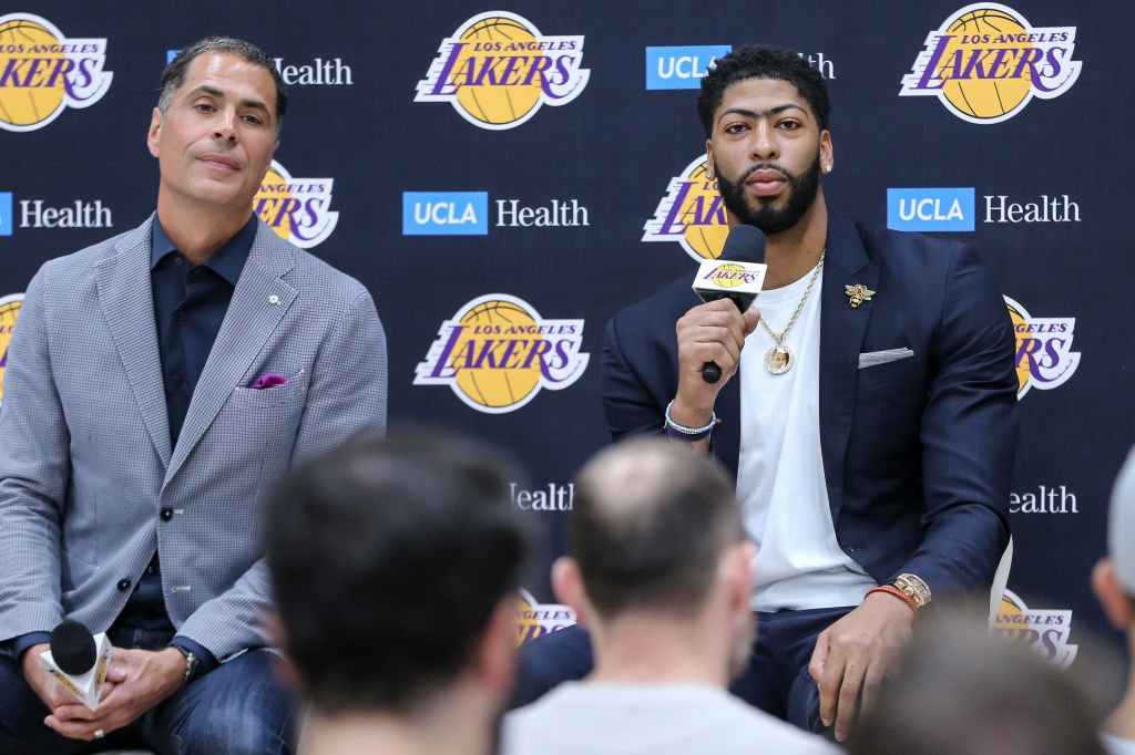 Los Angeles Lakers GM Rob Pelinka (left) hoped to add Anthony Davis and Kawhi Leonard in the 2019 offseason, but Leonard signed with the Clippers instead.