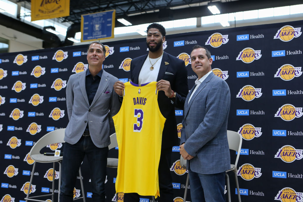 There isn't any bad blood between Rob Pelinka (left) and the Lakers and the New Orleans Pelicans over the Anthony Davis trade.
