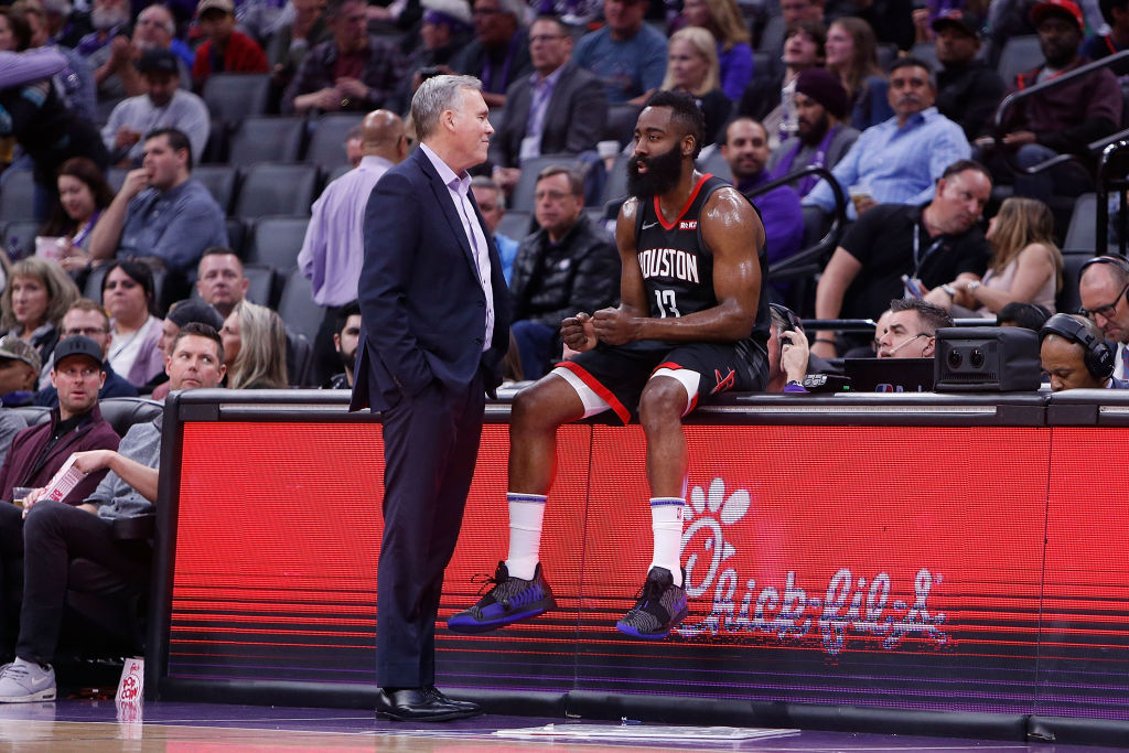 Houston Rockets coach Mike D'Antoni (left) has a plan for how to handle NBA superstars Russell Westbrook and James Harden (right) during the 2019-20 season.