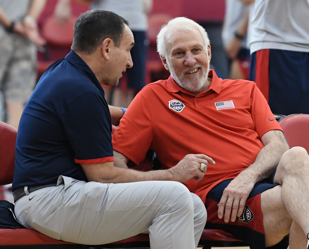Gregg Popovich (right) takes over Team USA coaching duties in 2019, but several NBA stars are declining to play in the 2019 FIBA World Cup.