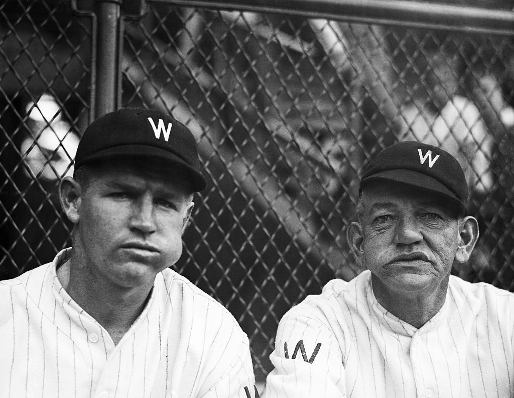 Nick Altrock (roght, coaching the Washington Senators in 1930) was one of the oldest baseball players ever.