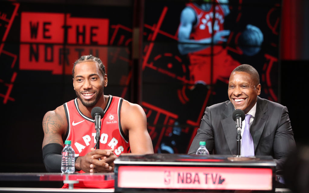 Masai Ujiri (right) dealt for Kawhi Leonard, and now he'll have to rebuild the Raptors without him.