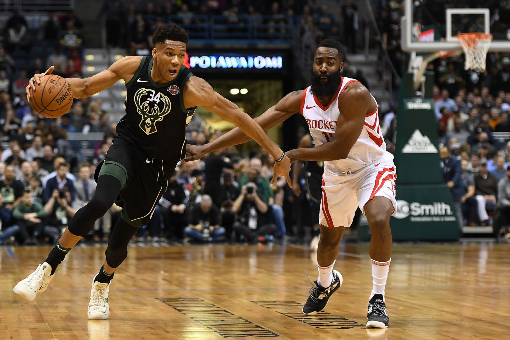 The Houston Rockets contend James Harden (right) should have been the 2019 NBA MVP over Giannis Antetokounmpo (left). Are they right?