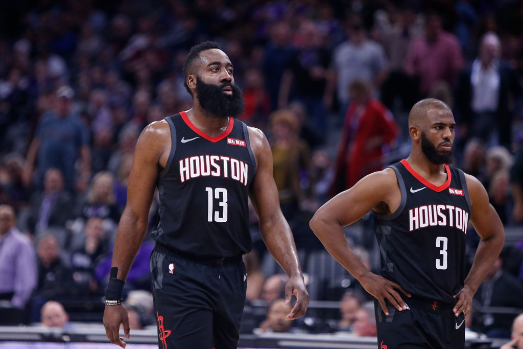 Swapping Chris Paul (right) for Russell Westbrook to play alongside James Harden is an upgrade for the Rockets.