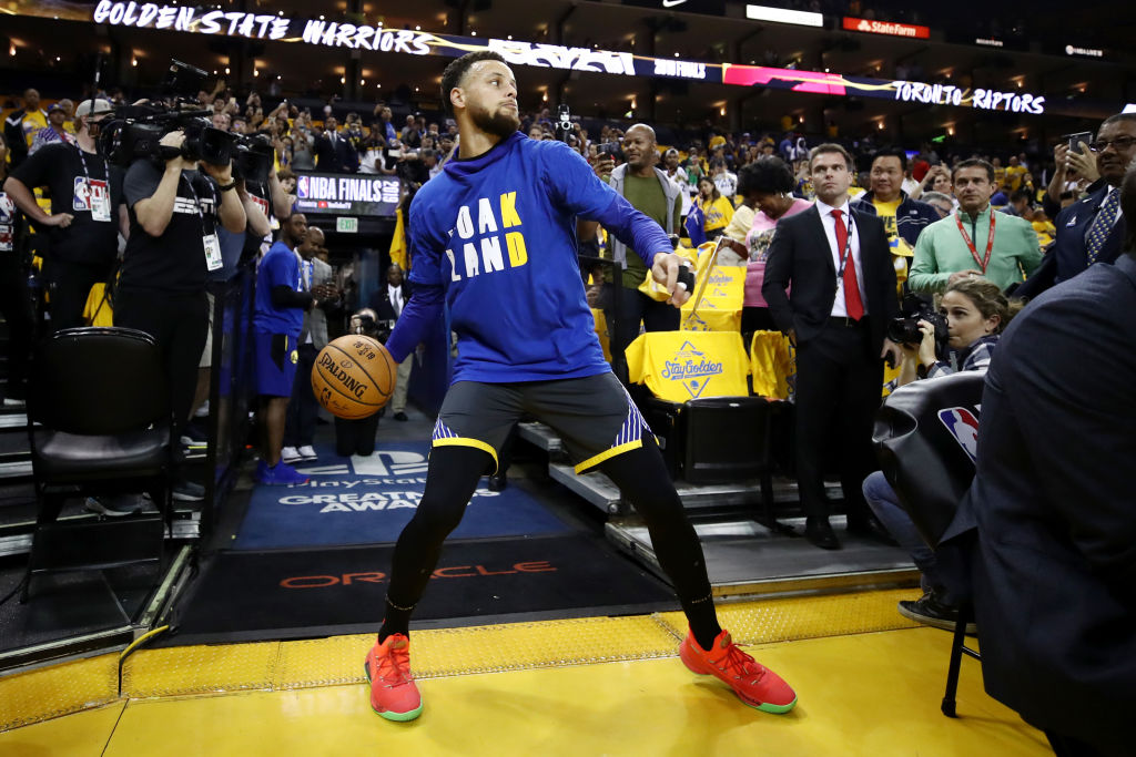 2019 NBA Finals - Stephen Curry #30 of the Golden State Warriors warms up