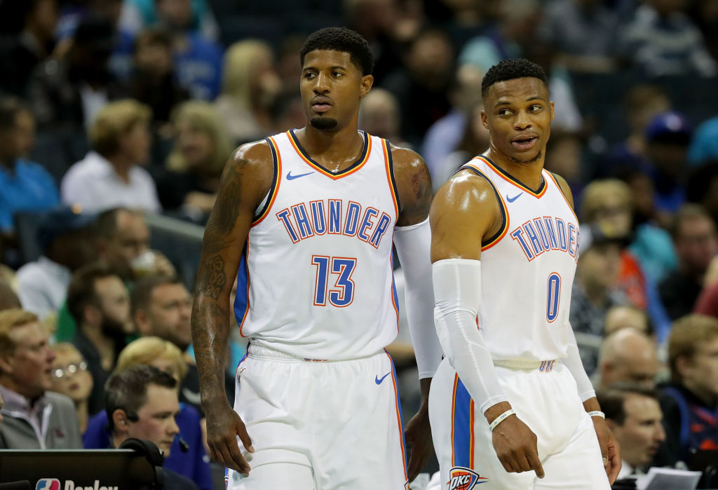 Trading Paul George (left) and Russell Westbrook brought the Oklahoma City Thunder a handful of draft picks in return.