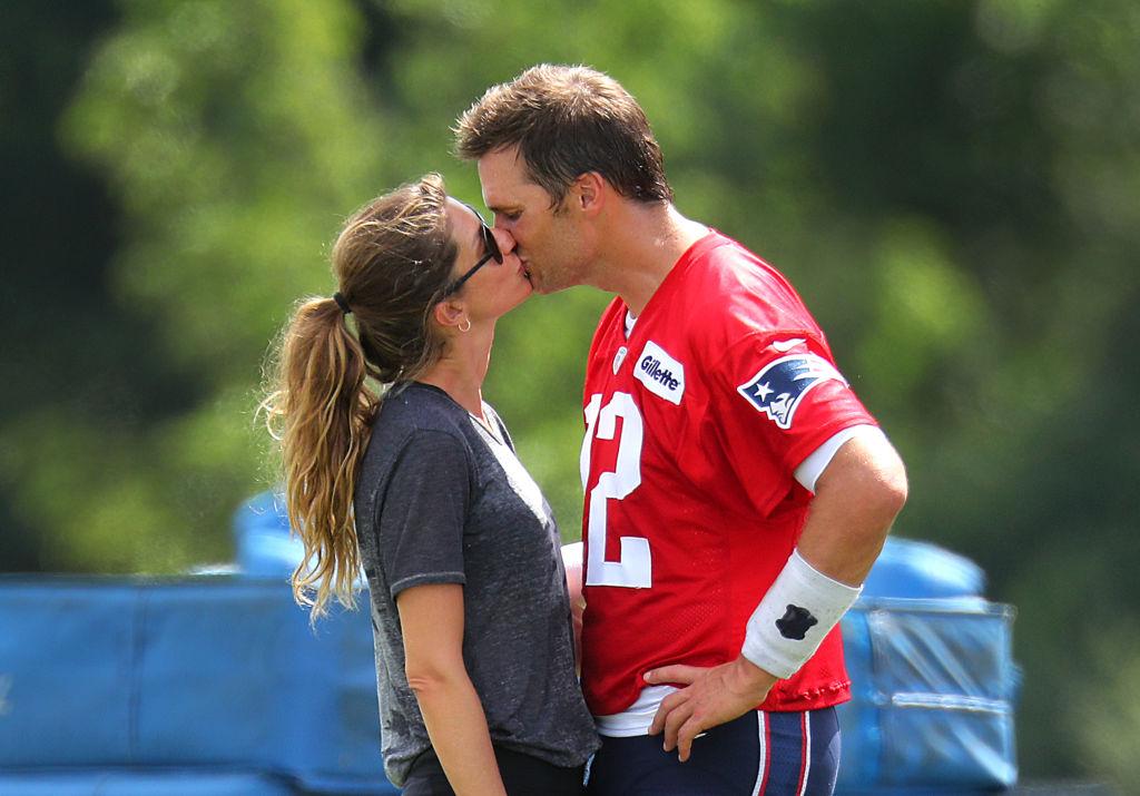 Patriots Training Camp - Gisele Bundchen and Tom Brady