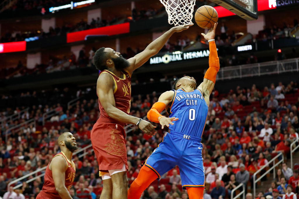 James Harden (left) and Russell Westbrook will have to work out the power dynamic when they team up on the Rockets.