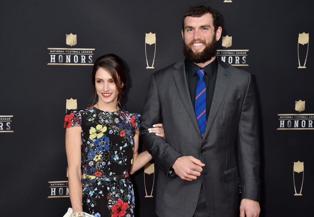 Andrew Luck's 2017 injury helped the Colts quarterback build a better relationship with his wife, Nicole Pechanec (left).