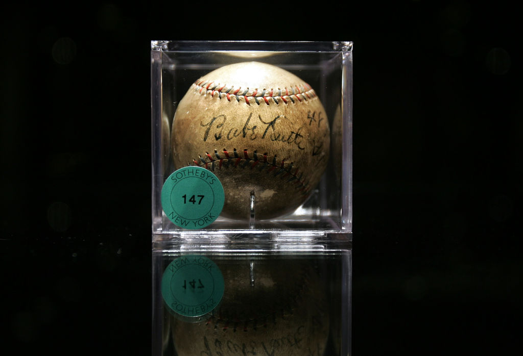 Sotheby's Previews Baseball Memorabilia To Be Auctioned