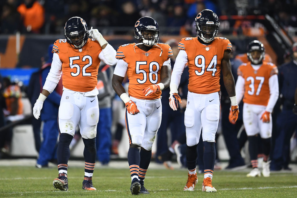 Khalil Mack (from left), Roquan Smith, and Leonard Floyd might give the Chicago Bears one of the best defenses in the NFL in 2019.