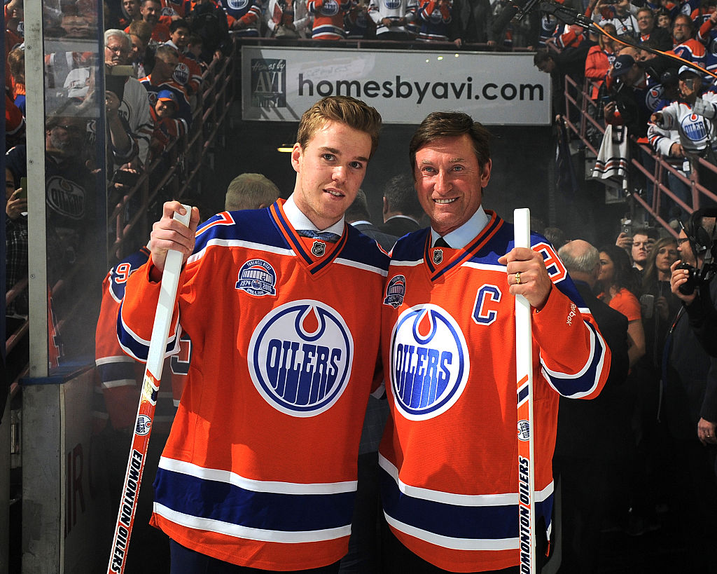 Connor McDavid (left) could join some Wayne Gretzky and some of the NHL's all-time greats if he notches another 100-point season.