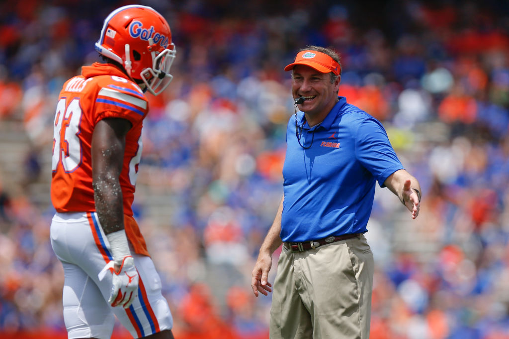 The Florida Gators and head coach Dan Mullen (right) had a lot of success in the college football landscape in 2018, but 2019 might be more of a struggle.
