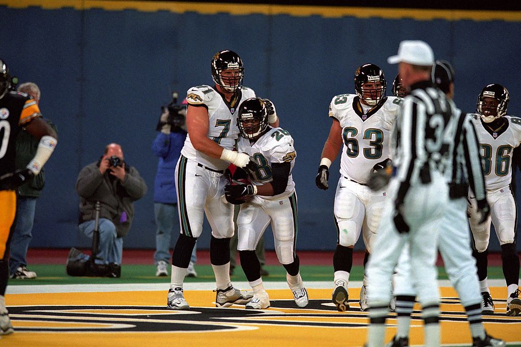 Tony Boselli (left) and Fred Taylor (with ball) are two of the best players in Jaguars history.